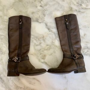 Brown Leather Tory Burch Riding Boot Size 8M